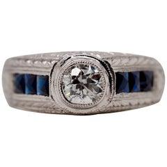 18 Karat White Gold Bezel Set Old European Cut Diamond Engraved Ring