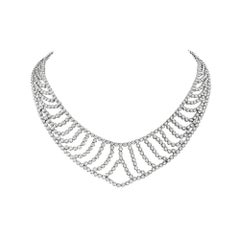 18 Karat White Gold Bib Necklace