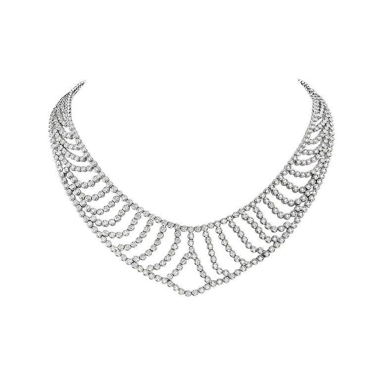 18 Karat White Gold Bib Necklace For Sale