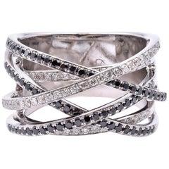 18 Karat White Gold Black and White Diamond Crossover Bypass Ring