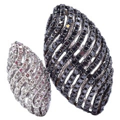 18 Karat White Gold Black and White Diamond Custom Geometric Ring