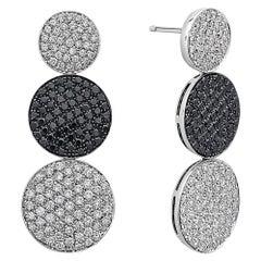 18 Karat White Gold Black and White Diamond Round Disc Dangle Drop Earrings