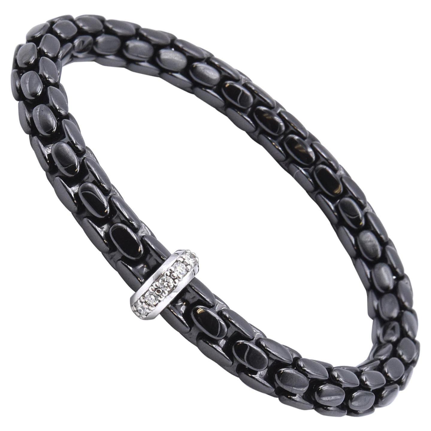 18 Karat White Gold Black Ceramic and Diamond Bracelet