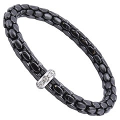 18 Karat White Gold Black Ceramic and Diamond Bracelet