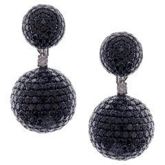 18 Karat White Gold Black Diamond Pave Ball Drop Earrings