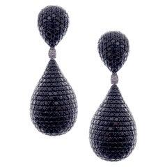 18 Karat White Gold Black Diamond Pave Pear Drop Earrings