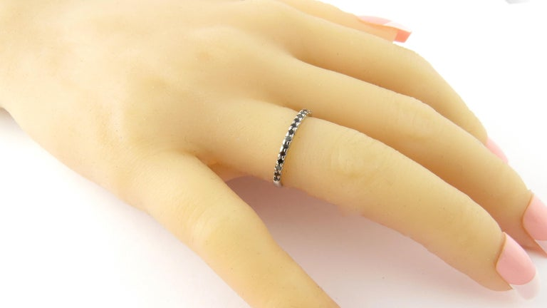 Round Cut 18 Karat White Gold Black Diamond Ring For Sale