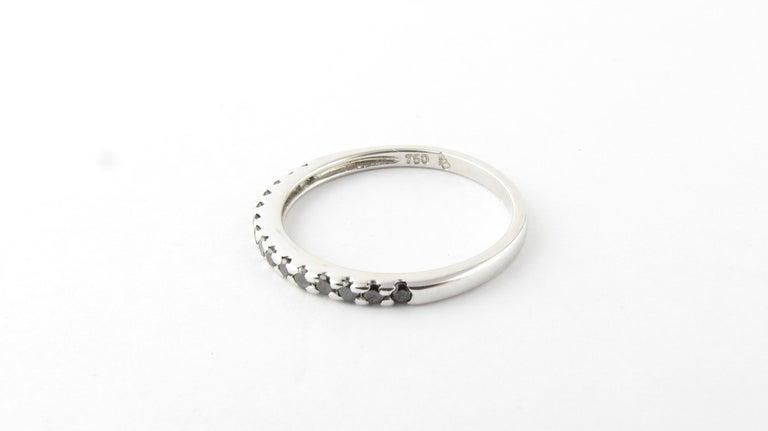 Women's 18 Karat White Gold Black Diamond Ring For Sale
