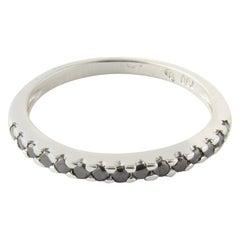 18 Karat White Gold Black Diamond Ring