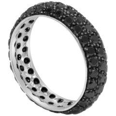 18 Karat White Gold Black Diamonds Pavè Band Eternity Garavelli Ring