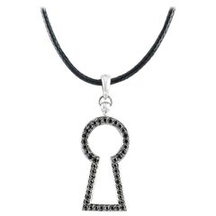 18 Karat White Gold Black Diamonds Pendant Black Cotton Cord Aenea Jewellery