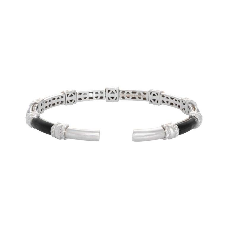 Contemporary 18 Karat White Gold Black Enamel Yellow Diamond Cuff Bracelet For Sale