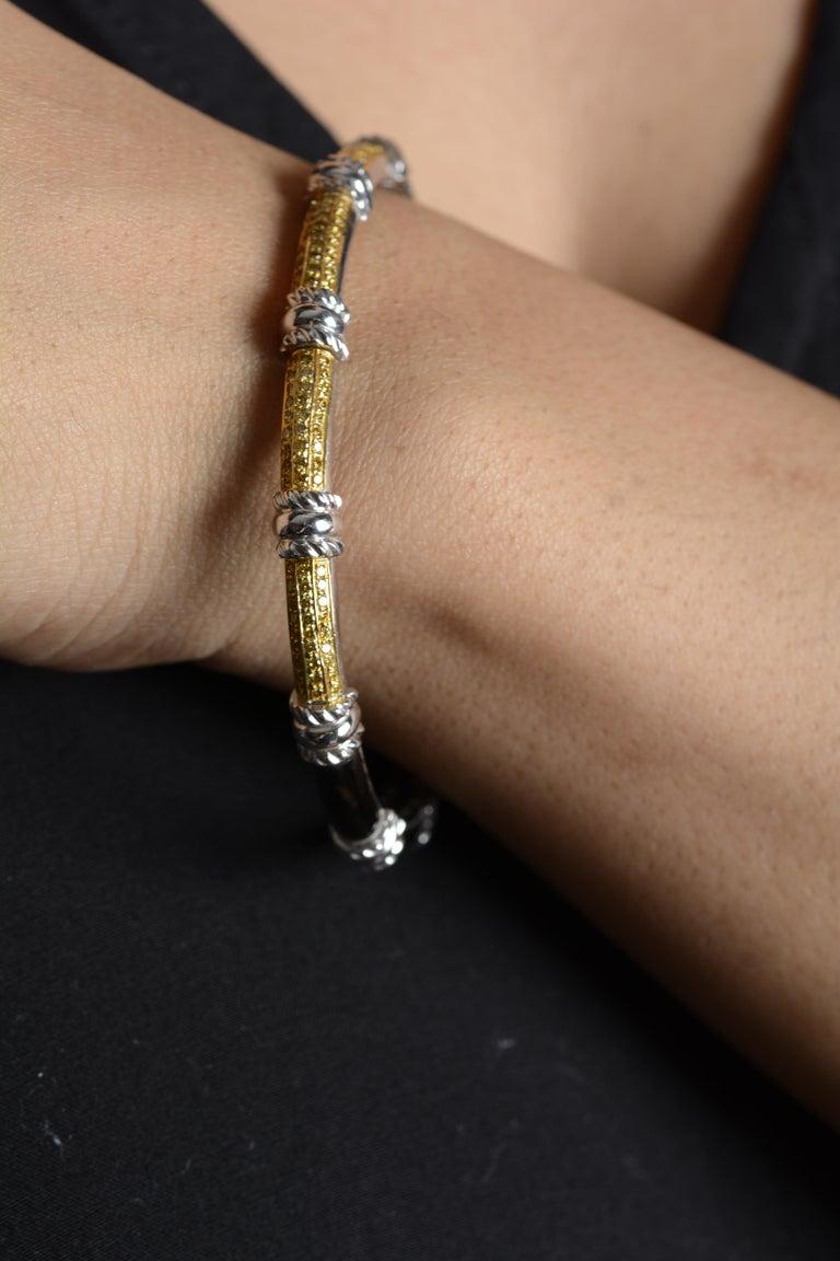 Round Cut 18 Karat White Gold Black Enamel Yellow Diamond Cuff Bracelet For Sale