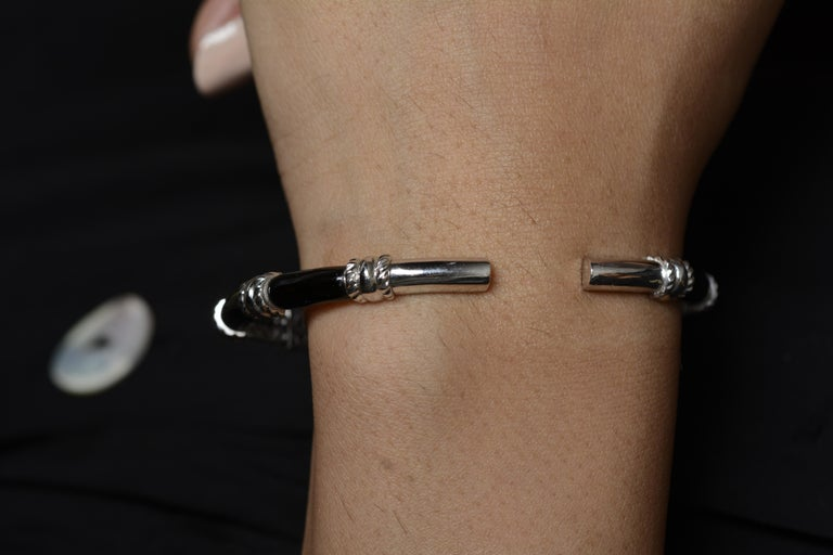 18 Karat White Gold Black Enamel Yellow Diamond Cuff Bracelet For Sale 1