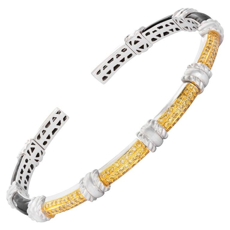 18 Karat White Gold Black Enamel Yellow Diamond Cuff Bracelet For Sale