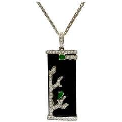 18 Karat White Gold Black Jadeite and Diamond Pendant with Necklace