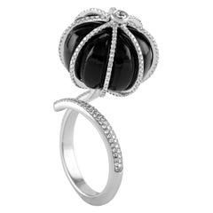 18 Karat White Gold Black Onyx and Diamond Cocktail Ring