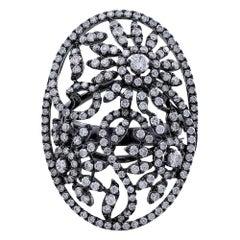 18 Karat White Gold Black Rhodium Diamond Floral Scroll Ring