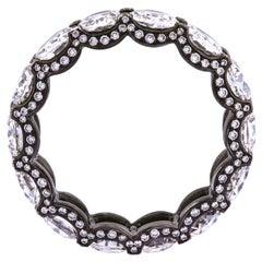 18 Karat White Gold Black Rhodium Old Cut Diamond Eternity Ring 5.57 Carat