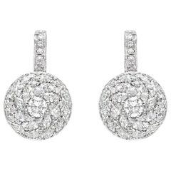 18 Karat White Gold, Black Rhodium Plated Diamond Lever Back Earrings