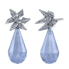 18 Karat White Gold Blue Chalcedony Diamond Hedgehog Spike Earrings
