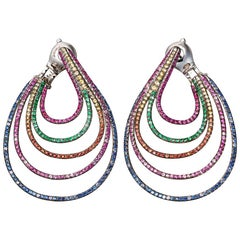 18 Karat White Gold Blue Pink Yellow Sapphires Earrings Aenea