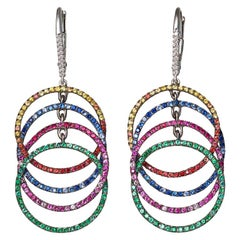 18 Karat White Gold Blue Pink Yellow Sapphires Emeralds Rubies Earrings Aenea