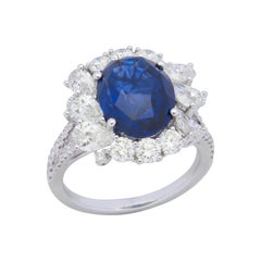 18 Karat White Gold Blue Sapphire and Diamond Cocktail Ring