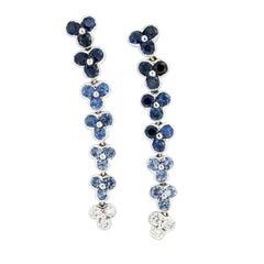 18 Karat White Gold, Blue Sapphire and Diamond Dangle Earrings by Jean Vitau