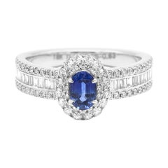 18 Karat White Gold Blue Sapphire and Diamond Double Cluster Band Ring