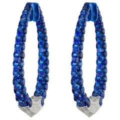 18 Karat White Gold Blue Sapphire and Diamond Hoop Earring