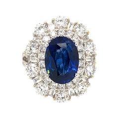 18 Karat White Gold Blue Sapphire and Diamond Ring