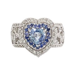 18 Karat White Gold Blue Sapphire and Diamond Wide Heart Ring