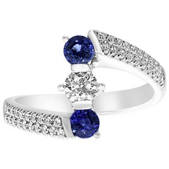 18 Karat White Gold Blue Sapphire and Diamonds Trilogy Ring