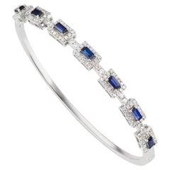 18 Karat White Gold Blue Sapphire and Pave Diamond Bangle