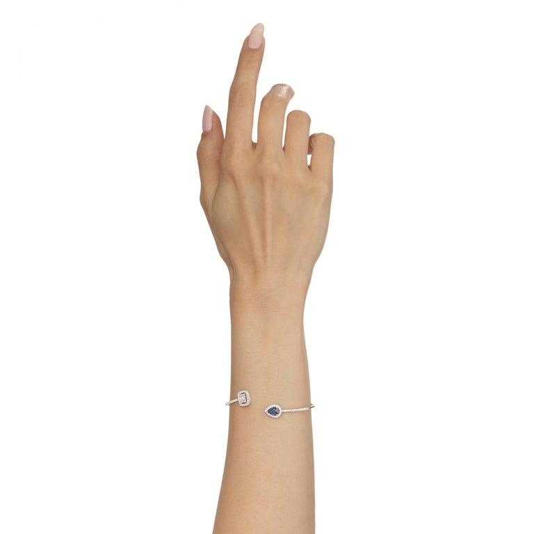 Pear Cut 18 Karat White Gold Blue Sapphire and Pave Diamond Cuff Bangle For Sale