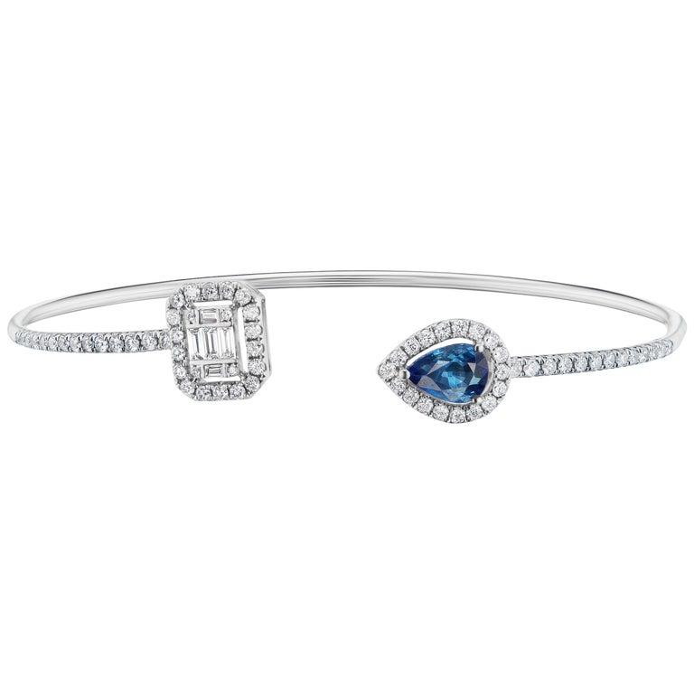 18 Karat White Gold Blue Sapphire and Pave Diamond Cuff Bangle For Sale