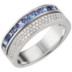 18 Karat White Gold Blue Sapphire and Pave Diamond Scroll Ring