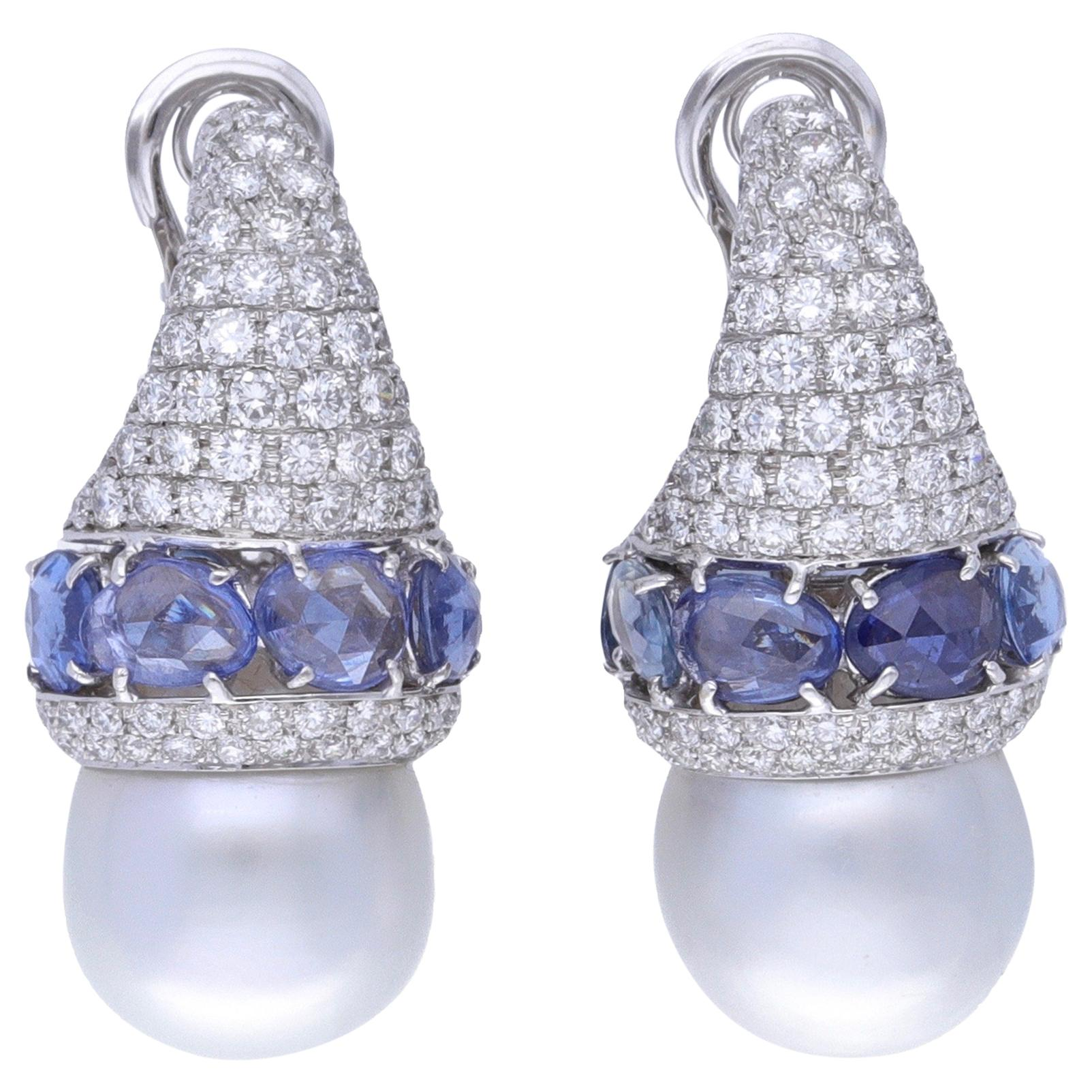 18 Kt. White Gold Blue Sapphire Australian Pearls Diamonds Earrings