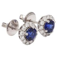 18 Karat White Gold Blue Sapphire Diamond Halo Earring