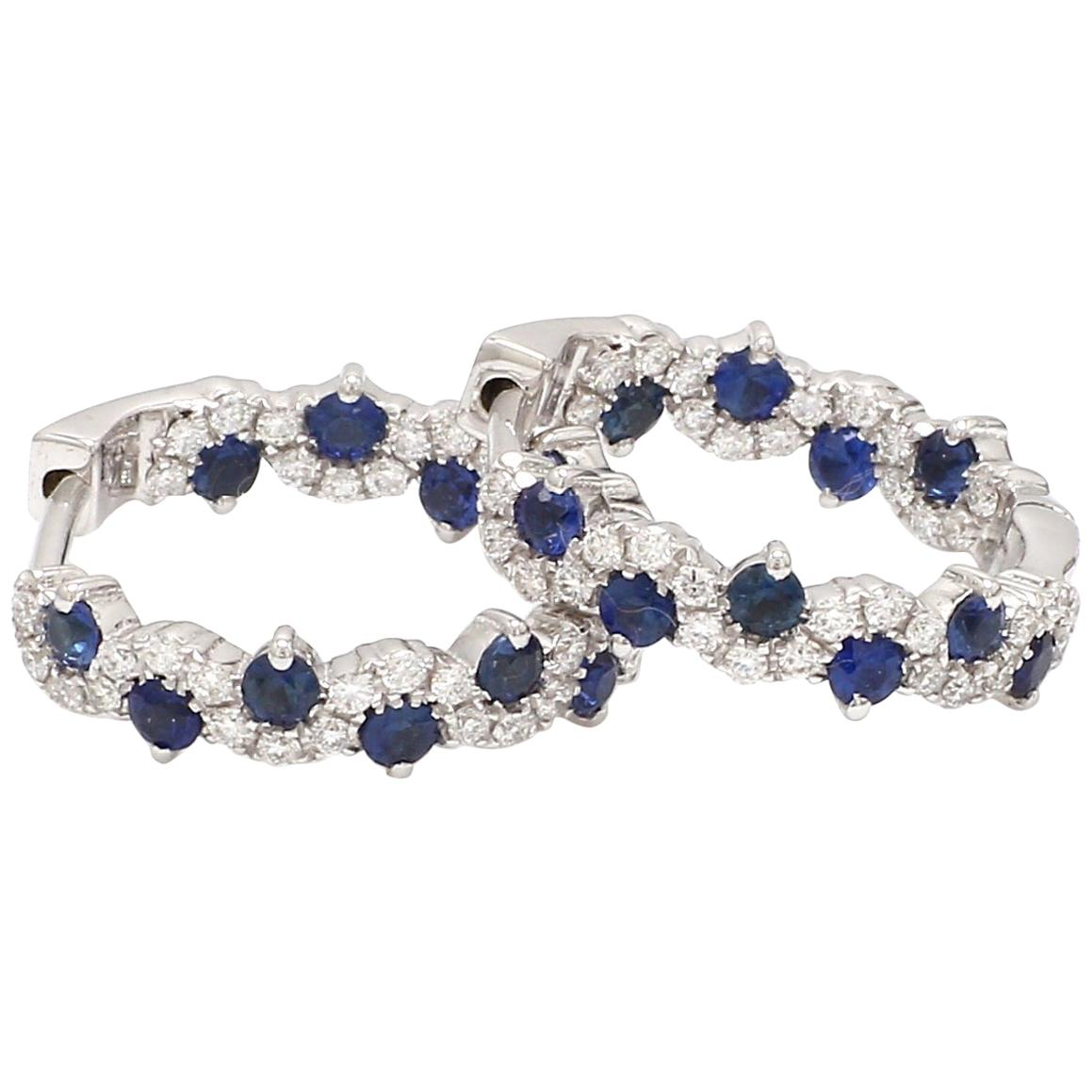 18 Karat White Gold Blue Sapphire Diamond Hoop Earring