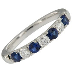 18 Karat White Gold Blue Sapphire & Diamond Stackable Ring by Spark Creations