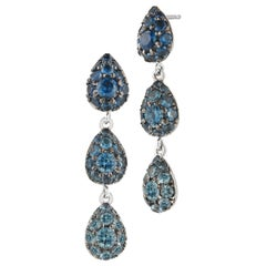 18 Karat White Gold Blue Sapphire Drop Earrings