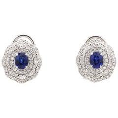 18 Karat White Gold Blue Sapphire Royal Blue Diamond Earring