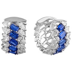 18 Karat White Gold Blue Sapphire White Diamond Hoop Earrings