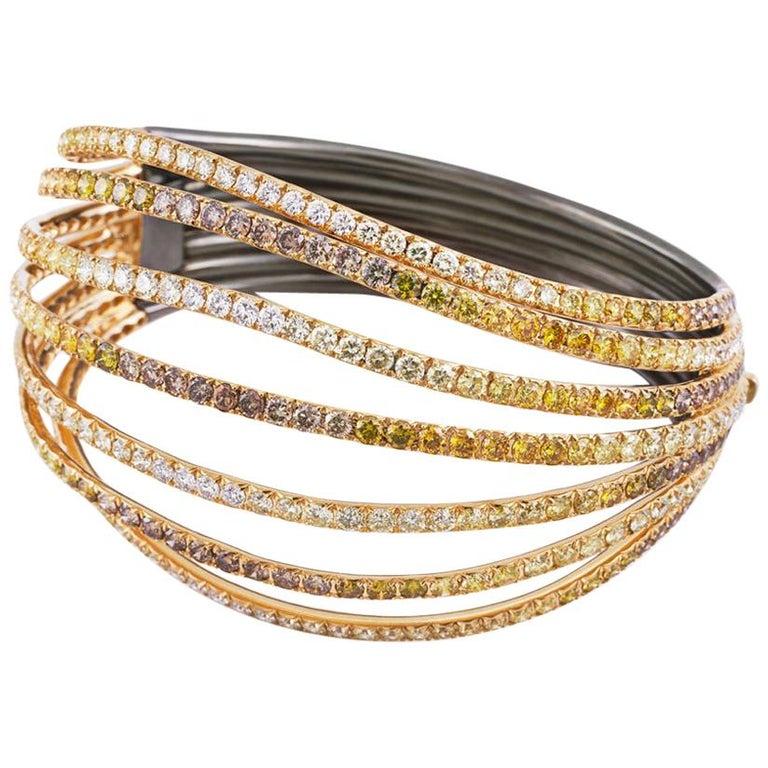 Modern 18 Karat White Gold Blue Sapphires Bangle Aenea Jewellery For Sale