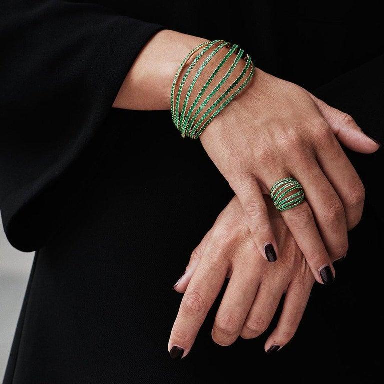 18 Karat White Gold Blue Sapphires Bangle Aenea Jewellery For Sale 1
