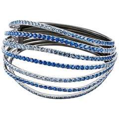 18 Karat White Gold Blue Sapphires Bangle Aenea Jewellery