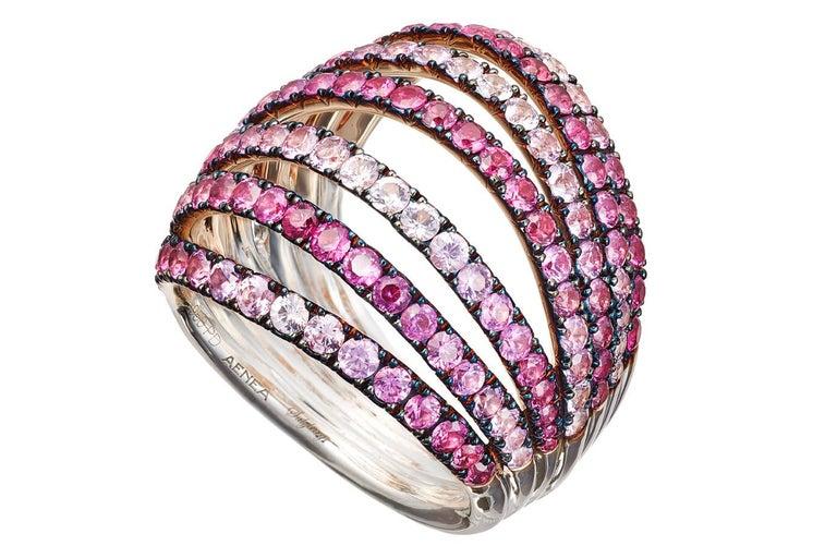 Modern 18 Karat White Gold Blue Sapphires Ring Aenea Jewellery For Sale