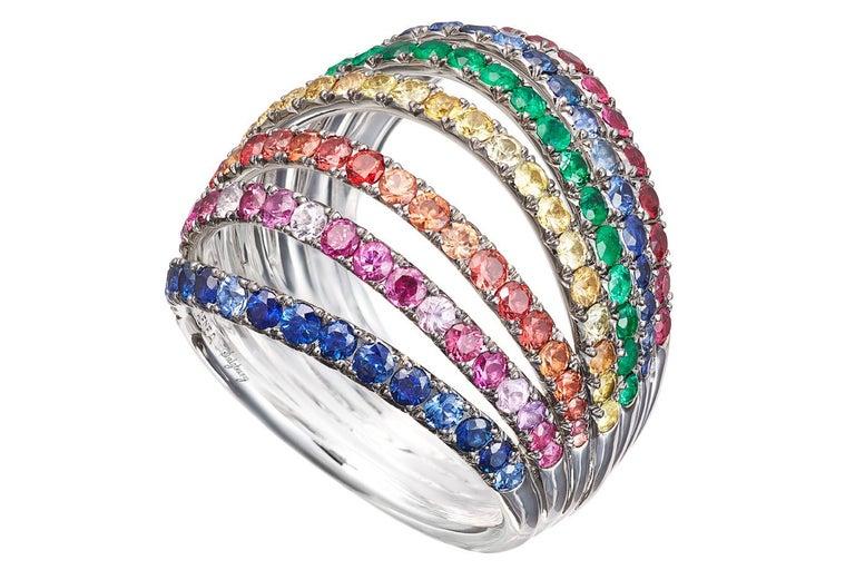 Women's 18 Karat White Gold Blue Sapphires Ring Aenea Jewellery For Sale